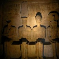 """The sunrays enter the full length of the Temple lighting the statues in the """"Holy of the Holies"""